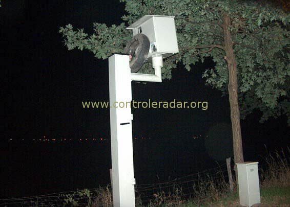 large view of the soon to be burning radar speed camera
