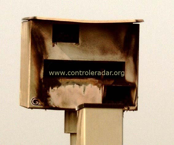 the gatso speed radar camera is burnt down