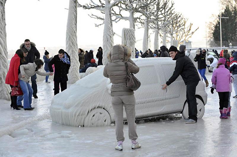 twingo couverte de gel