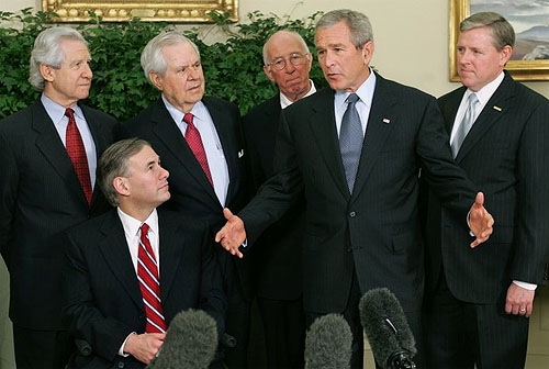 president bush avec ses amis
