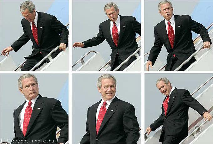 bush descend les escaliers
