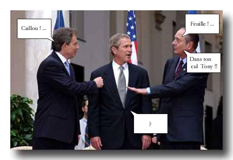 bush, blair et chirac en discussion